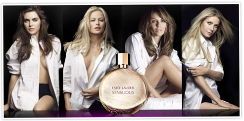 Carolyn Murphy, Gwyneth Paltrow, Hilary Rhoda & Liz Hurley model Estee Lauder's Sensuous