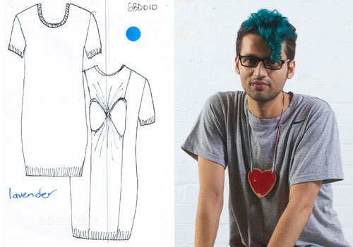 Gary Bigeni and a sketch of his Spring/Summer 2011-12 collection