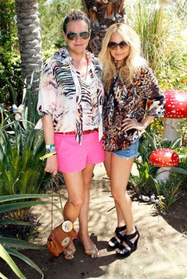 Nicole Richie with Mulberry's Emma Hill at the Mulberry Coachella Party
