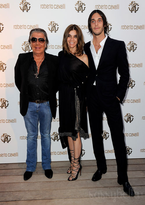 Carine Roitfeld with Roberto Cavalli and son Vladimir