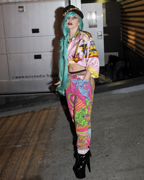 Lady Gaga in Vintage Versace after Taratata in Paris