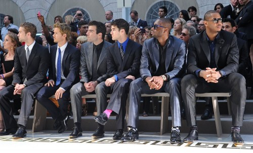 Versace Menswear Front Row: Zachary Quinto, Chace Crawford, Ryan Kwanten, Darren Criss, Dwayne Wade and Carmelo Anthony