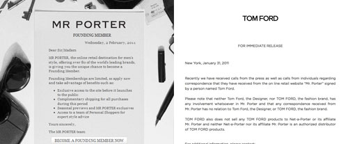 The tale of two Tom Ford's: the designer and the Mr Porter PR
