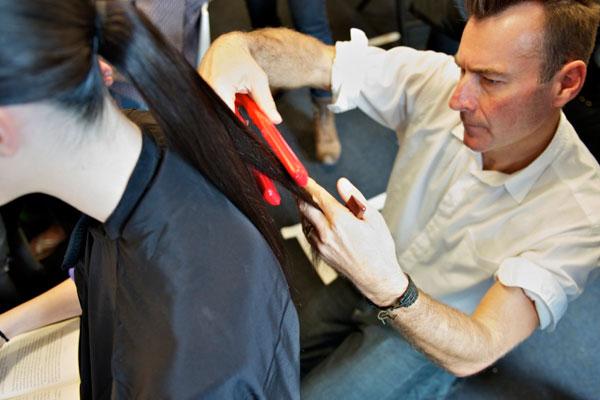 ghd Hair Director Alan White at work at RAFW 2010