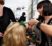 ghd Hair Director Jayne Wild at work at RAFW 2010