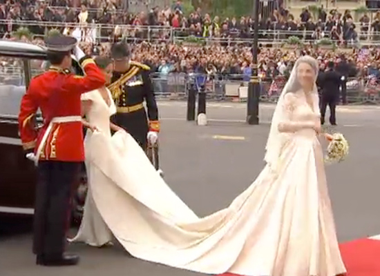 Kate Middleton wears a Sarah Burton designed wedding dress