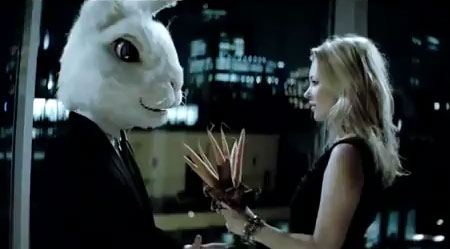 kate moss for basement, seduces a rabbit-headed man