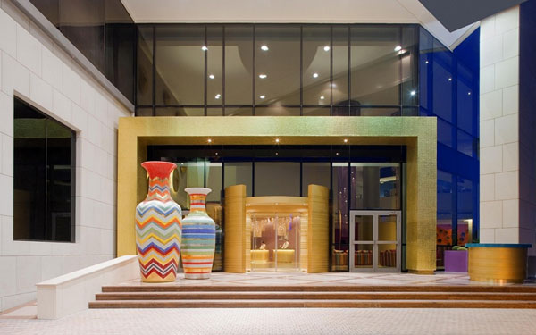 Hotel Missoni Kuwait features striped pools and giant zig zag patterned urns