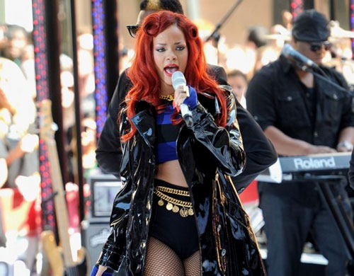 I Spy: Rihanna wears patent leather Burberry on the Today Show