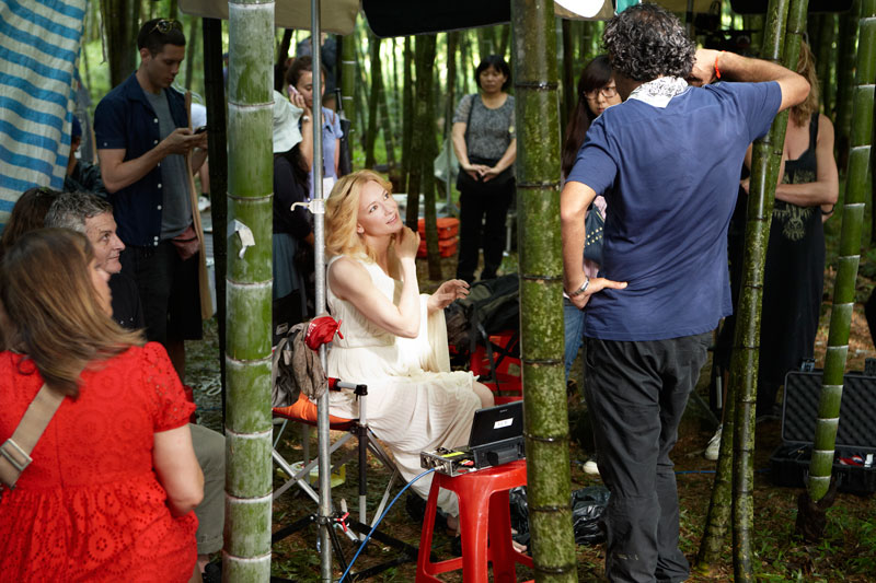 Cate Blanchett films her first SK-II commercial in a bamboo forest