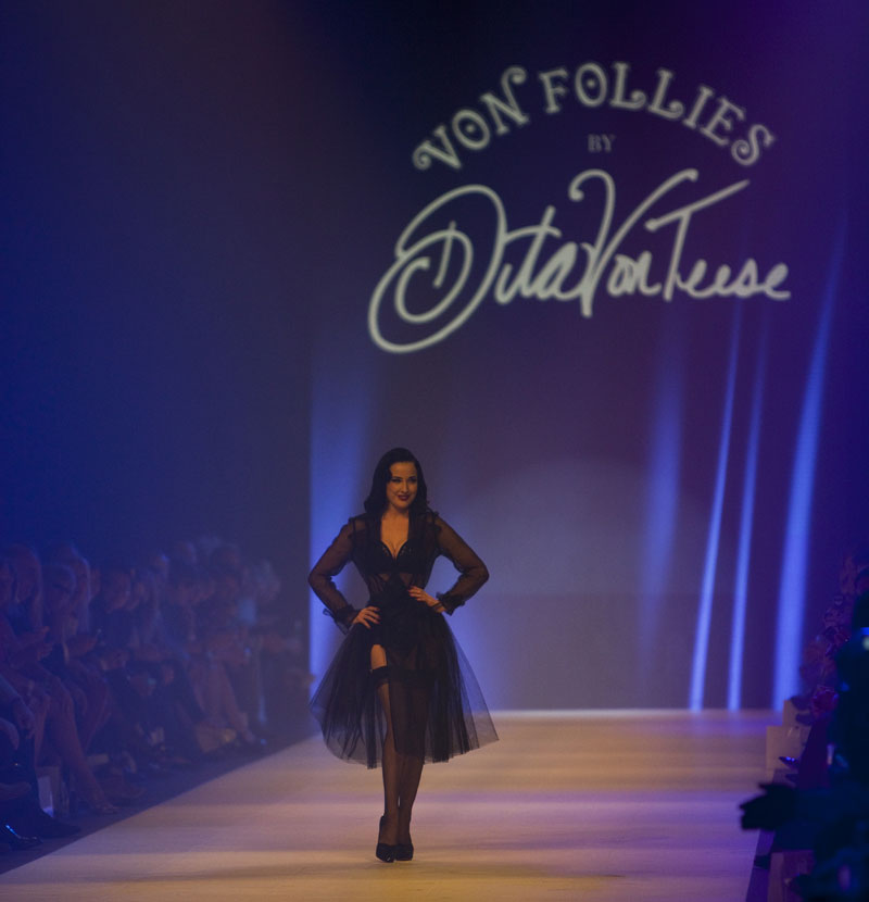 LMFF: Dita Von Teese models her Von Follies lingerie collection for Target