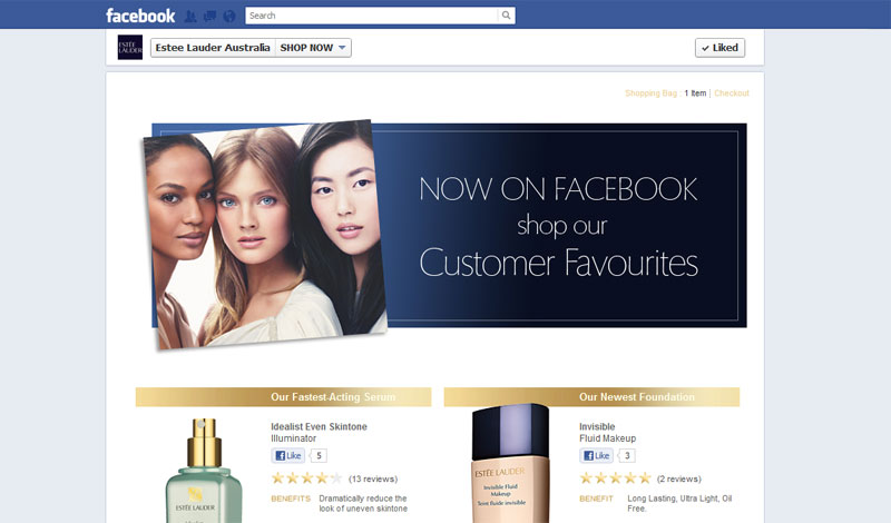 Estee Lauder Australia launches F-Commerce feature on their Facebook page