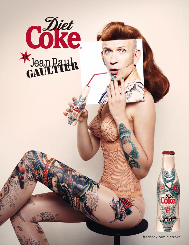 Jean Paul Gaultier gets Tattoo'd for his third Diet Coke bottle