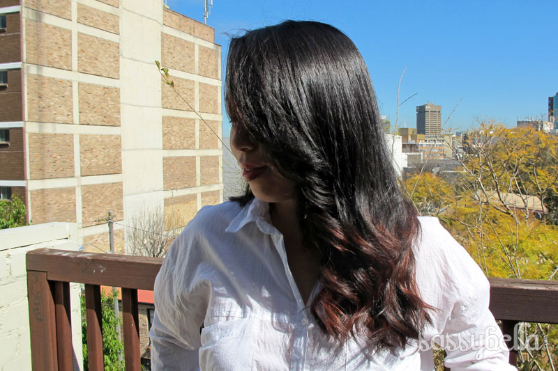 Going burgundy red: Experiments with balayage on dark Asian hair