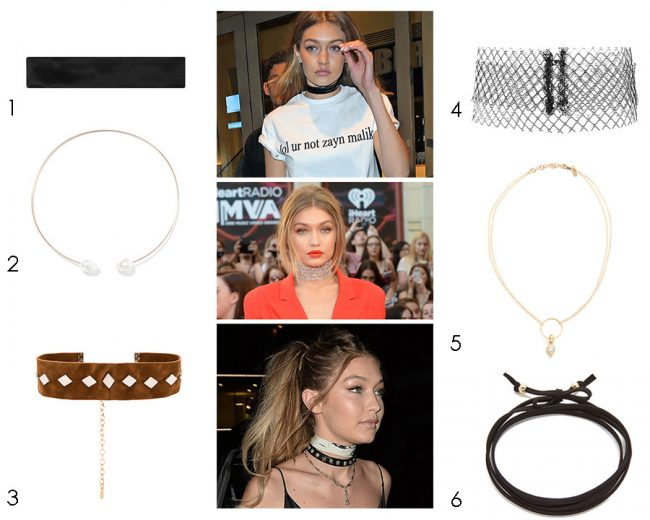Gigi Hadid wearing chokers