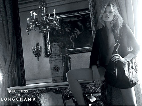 Kate Moss for Longchamp, the ad campaign for her handbags